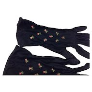 Navy Ladies Embroidered Dress Gloves