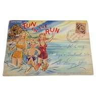 Curt Teich Linen Postcard Folder with Black Ephemera