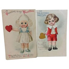 Pair Unsigned Clapsaddle Valentines