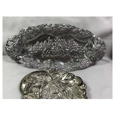 Pair Repousse Christmas Dishes : Silvertone Metal