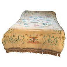 Hand Painted Silk Moire Bedspread