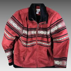 Red Suede Leather Ladies Jacket Large