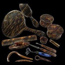 Extensive Dresser Set: Plastic Faux Tortoise Shell