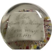 1901 Glass Paperweight Commemorating Birth