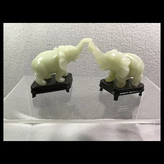 Pair Carved Jade Elephants