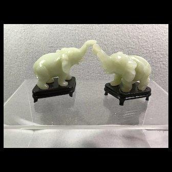 Pair Carved Jade Elephants