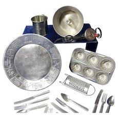 Child's Metal Kitchenware 18 pieces