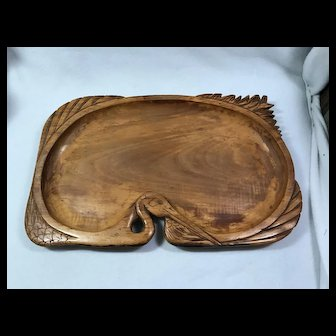 Folk art: Carved Wooden Tray / Heron