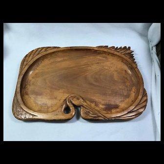 Folk art: Carved Wooden Tray / Heron