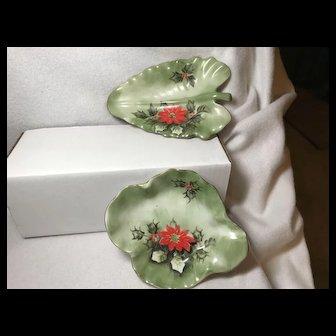 Lefton Poinsettia Dishes