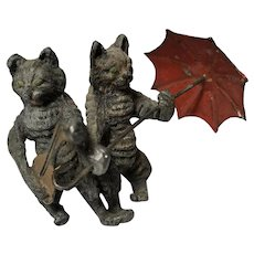 Cold Painted Metal Cat Duo
