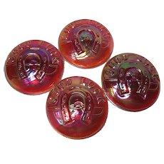 4 Fenton Coin Dot Horseshoe Good Luck Buttons