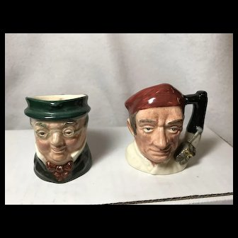 Pair Royal Doulton Mugs: Mr. Picwick, The Bootmaker of Williamsburg