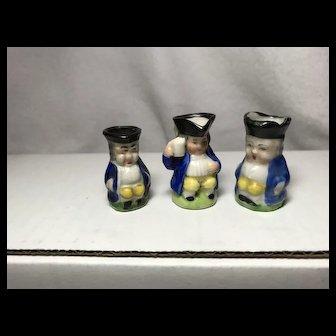 3 Miniature Toby Jugs