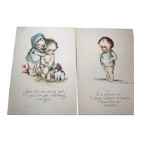 Pair Ruth Welch Silver Post Cards