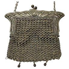 German Silver Art Nouveau Chain Maille Purse