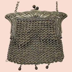 German Silver Art Nouveau Chain Maille Purse
