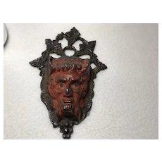 Devil Match Holder/ Wall Mount / Cast Iron / Original Paint