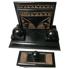 Ebonized Wooden Desk Set