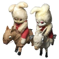 Pair Windup Bunny on Donkey