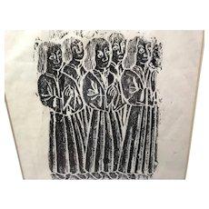 Old Anglican Woodblock Print