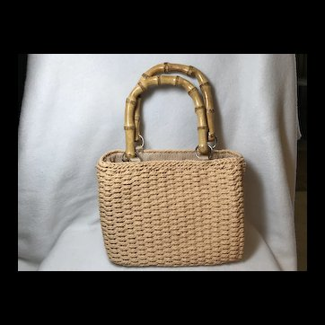 Purse: Woven Seagrass With Bamboo Handles
