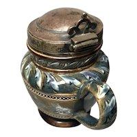 1881 Doulton Lambeth Mustard Pot with Silver Spoon