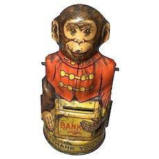 J.Chein Tin Lithographic Monkey Bank