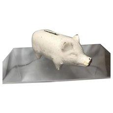 White Ironstone Piggy Bank