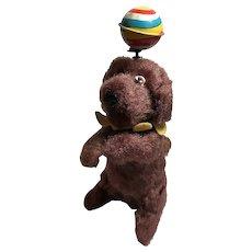 Brown Windup Dog with Ball on Head / Japan
