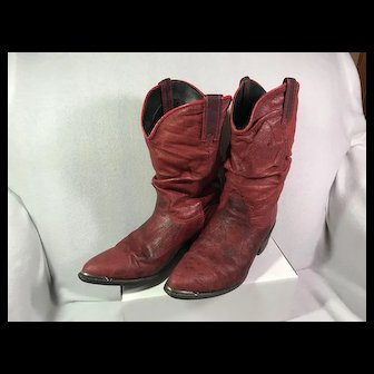 Soft Red Leather Western Boots : W 7 1/2
