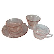 4 Pieces Pink Depression Glass
