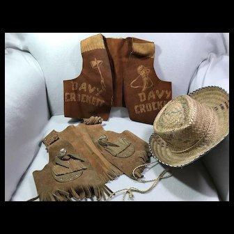 Children's Leather Vests & Straw Hat