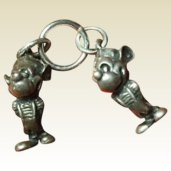 Vintage Disney Mickey's Nephews Morty and Ferdie Charms Sterling Silver 1940's