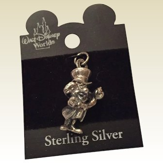 Vintage Disney Sterling Silver MAD HATTER Charm from the Alice In Wonderland Stories