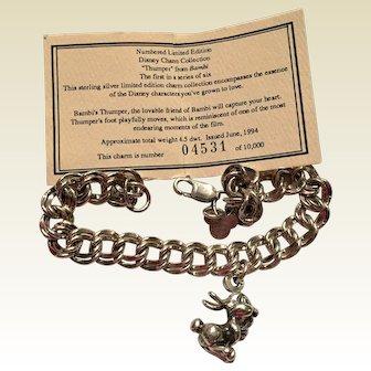 Vintage Disney Limited Edition THUMPER Charm Bracelet 925 Bambi