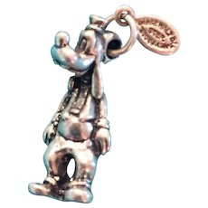 Vintage Disney Goofy Sterling Silver Charm with original Tag