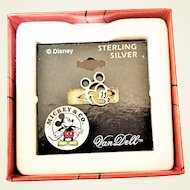 Vintage Disney Mickey Mouse Sterling Silver Ring Size 7