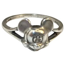 Vintage Sterling Silver Mickey Mouse Ring Size 7