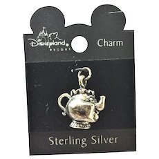 Vintage Disney Sterling Silver MRS POTTS Charm Beauty and The Beast *RARE*