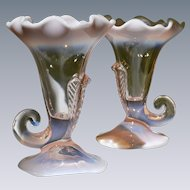Duncan Miller 1940's Opalescent Glass Cornucopia Pair