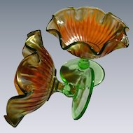 Northwood Iridescent Marigold Smooth Ray Carnival Glass Compotes Pair