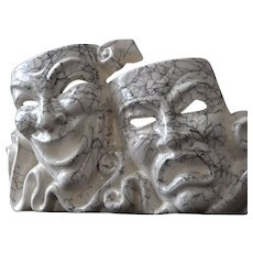 Mid Century Tragedy Comedy Theater Mask Ceramic Planter