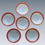 Pyrex Pink Flamingo Dessert Bowls 1950's Opal Milk Glass Set of 6 (#1)