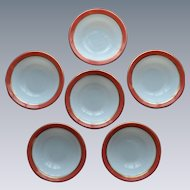 Pyrex Pink Flamingo Dessert Bowls 1950's Opal Milk Glass Set of 6 (#2)