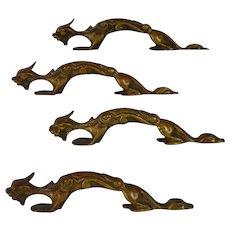 Antique Brass Dragon Drawer Handles
