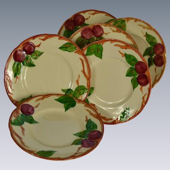 Set of 6 Franciscan Ware Apple Motif Bread & Butter Plates #1