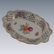 Dresden Porcelain Schumann Chateau Reticulated China Oval Dish