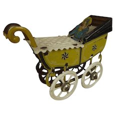 Wonderful Rarest  Antique Penny Toy Doll Carriage/Pram from Meier, Germany, 1900, ALL ORIGINAL