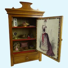 Mid 19th century cabinet/armoire filled with fashion dolls antique accessories